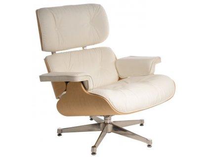 Bílé kožené křeslo v dubovém provedení Lounge chair