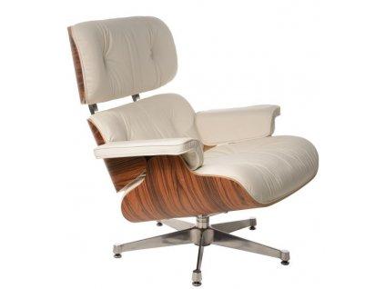 Bílé kožené křeslo v palisandrovém provedení Lounge chair