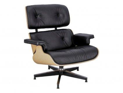 Kožené křeslo v dubovém provedení Lounge chair