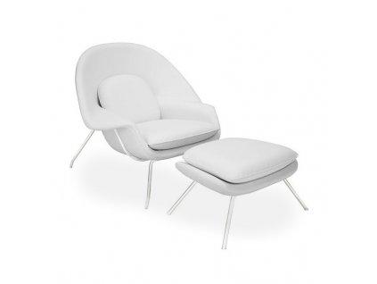 Designové bílé čalouněné křeslo Nug s podnožkou