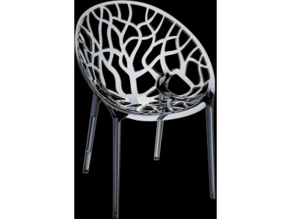 Designová židle Crystal, kouřová