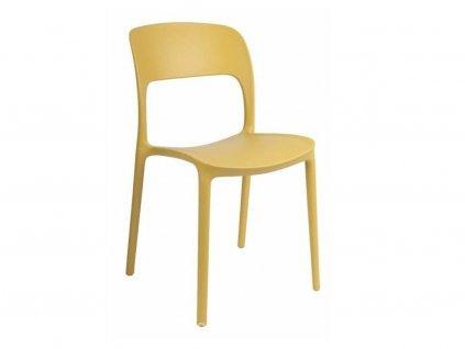 Žlutá plastová jídelní židle Lexi