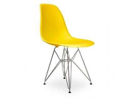 Žlutá plastová židle DSR