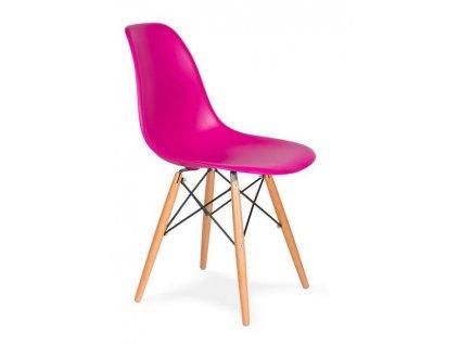 Růžová plastová židle DSW s bukovou podnoží
