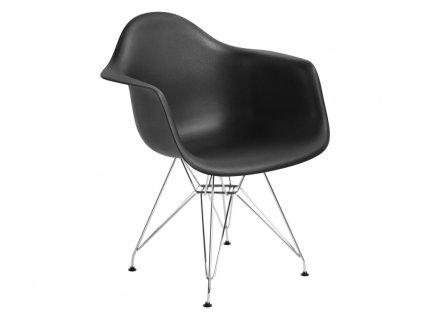 Designová černá židle DAR z plastu a s ocelovou podnoží