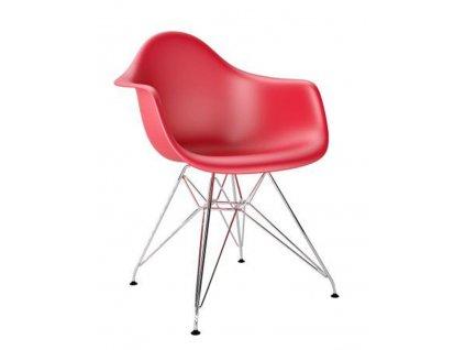 Červená plastová židle DAR