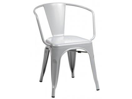 Šedá kovová jídelní židle Tolix s područkami