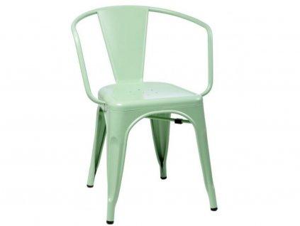 Zelená kovová jídelní židle Tolix s područkami