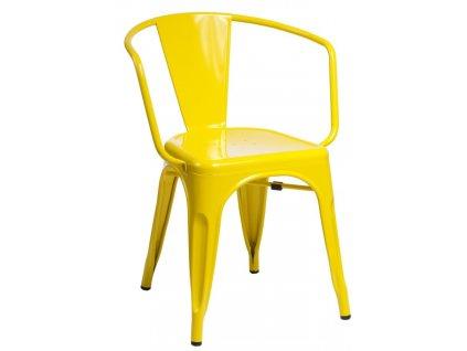 Žlutá kovová jídelní židle Tolix s područkami