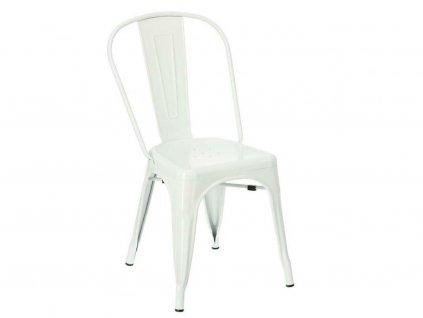 Bílá kovová jídelní židle Tolix