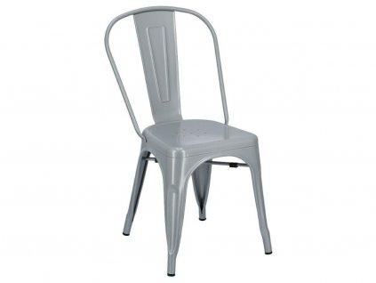 Šedá kovová jídelní židle Tolix