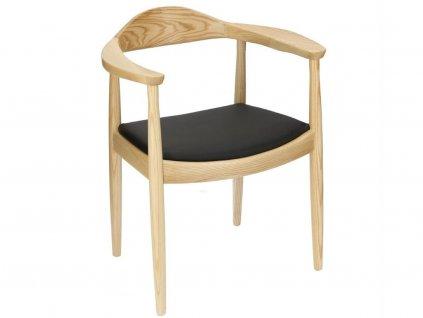 Černá jasanová jídelní židle Kennedy II. s koženým sedákem