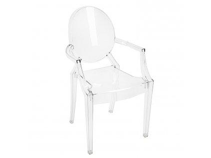 Transparentní plastová jídelní židle Ghost s područkami