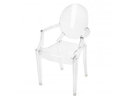 Designová židle Ghost s područkami, transparentní
