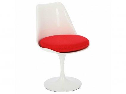 Bílá plastová otočná jídelní židle Tulip s červeným sedákem