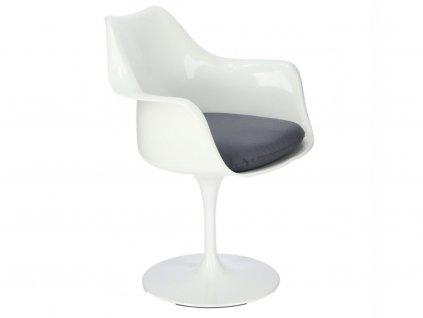 Bílé designové křeslo Tulip s černým sedákem a lakovanou podnoží