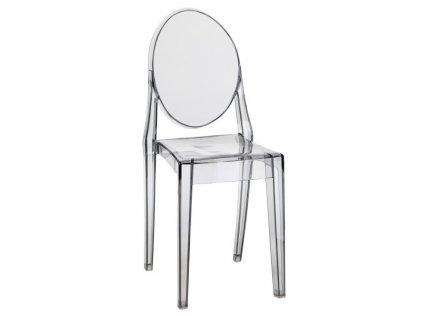 Šedá transparentní plastová židle Ghost