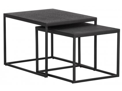 Set dvou černých kovových konferenčních stolků Fabe 60x45 / 50x40 cm