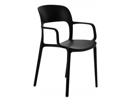 Černá plastová jídelní židle Lexi s područkami