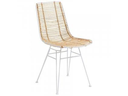 Bílá ratanová jídelní židle LaForma Ashanti