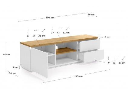 Bílý dubový TV stolek LaForma Abilen 150 x 44 cm