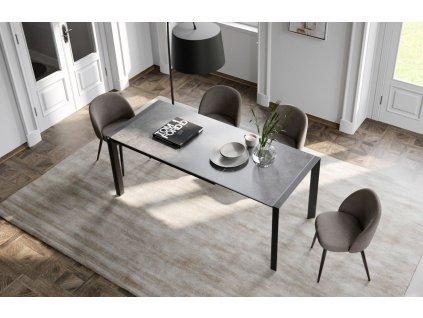 Béžová sametová jídelní židle Miotto Bressio s kovovou podnoží