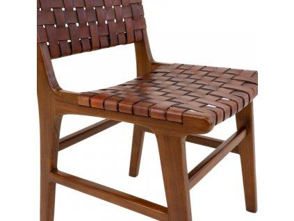 Hnědá kožená jídelní židle Molie s výpletem