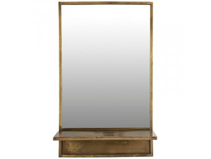 Mosazné kovové závěsné zrcadlo WLL Feyza 37x61 cm