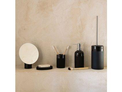 Kulaté kosmetické stolní zrcadlo Laforma Veida s černým podstavcem 16,1 x 14 cm