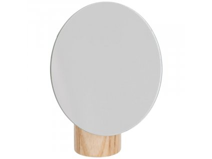 Kulaté kosmetické stolní zrcadlo Laforma Veida s jasanovým podstavcem 16,1 x 14 cm