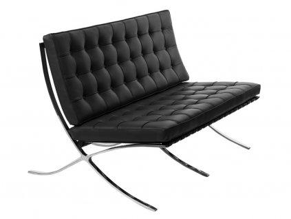 Černá kožená dvoumístná pohovka Barcelona 150 cm
