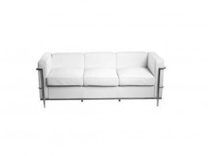 Bílá kožená třímístná pohovka LC3 180 cm