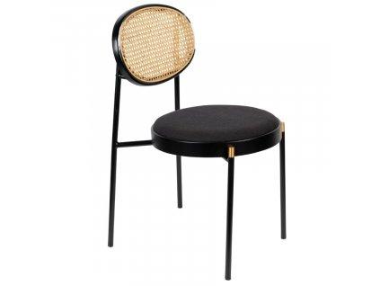 Černá látková jídelní židle BOLD MONKEY DON'T STOP THE WEBBING s ratanovým opěradlem