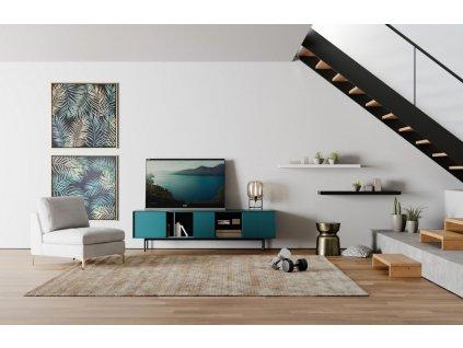 Petrolejový Tv stolek Miotto Ostuni s kovovou podnoží 210 x 40 cm