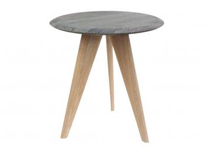 Kouřově šedý dubový kulatý odkládací stolek Miotto Tera 43 cm