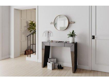 Černý zrcadlový toaletní stolek Miotto Meana 110 x 36 cm