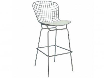 Kovová barová židle Harry s bílým sedákem 80 cm
