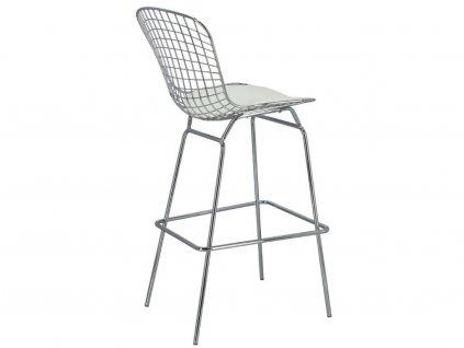 Designová kovová barová židle s bílým podsedákem
