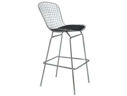 Chromovaná barová židle s črným podsedákem
