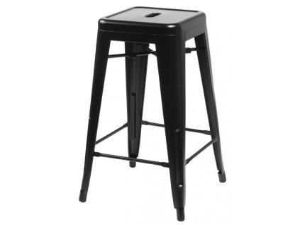 Designová barová židle Tolix 66 s černou kovovou konstrukcí