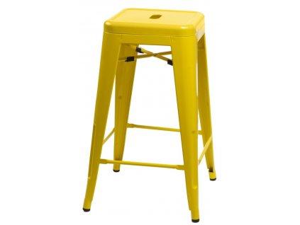 Žlutá kovová barová židle Tolix 66 cm