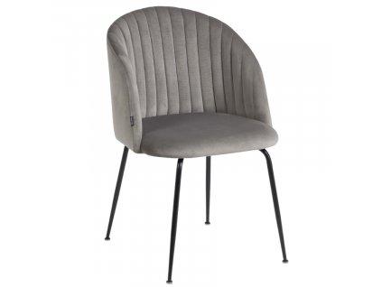 Světle šedá sametová jídelní židle LaForma Lumina s černou podnoží