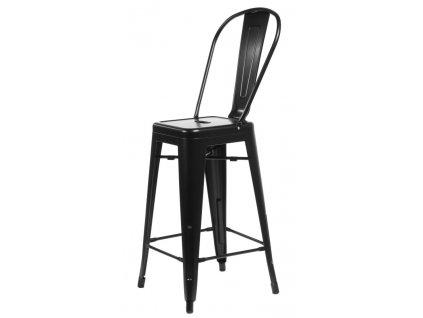 Designová černá barová židle Tolix z kovu
