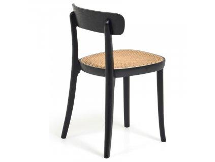Černá jasanová jídelní židle LaForma Romane s ratanovým výpletem