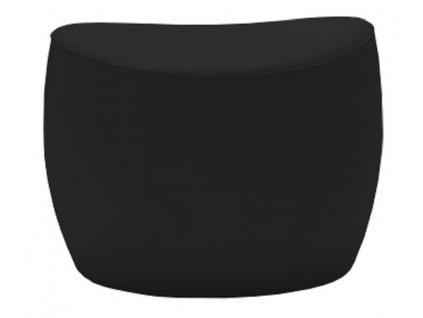 Černý čalouněný taburet MARBET PUFA ONLY s béžovým prošitím