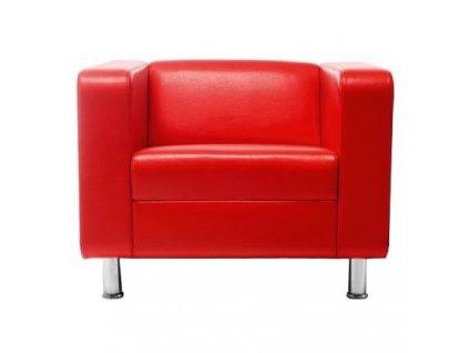 Červené koženkové křeslo MARBET STYLE CUBBY s chromovou podnoží