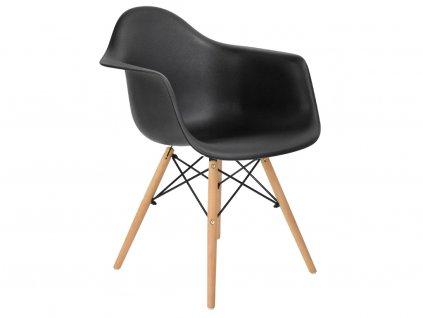 Černá plastová židle DAW s přírodní bukovou podnoží