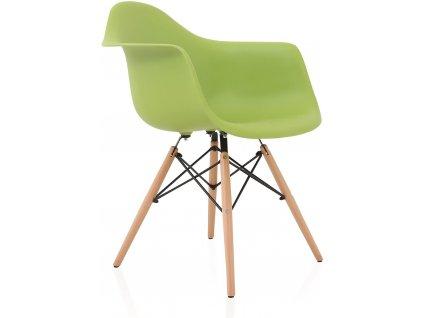 Světle zelená plastová jídelní židle DAW s bukovou podnoží