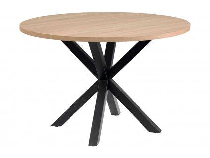 Dubový kulatý jídelní stůl LaForma Arya 119 cm s černou podnoží