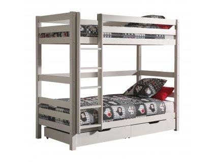 Bílá dřevěná dětská patrová postel Vipack Pino 90 x 200 cm